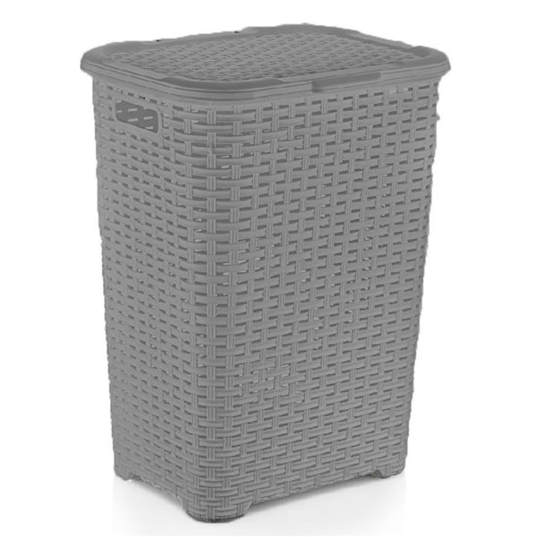 Superio Palm Luxe Laundry Hamper - 23-in x 17-in - Grey