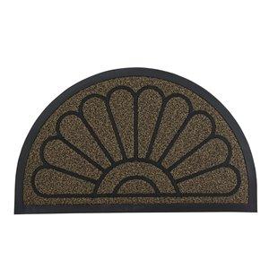 Paillasson en demi-cercle de Superio, 17 po x 29 po, brun/noir