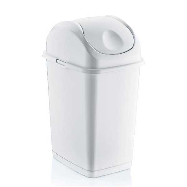 Superio Trash Can - Swing/Push Lid - 10.5-in - 10-L - White
