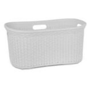 Superio Wicker Curved Laundry Basket - 22-in x 18-in - White