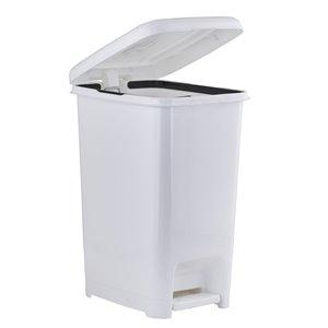 Poubelle à pédale de Superio, 64 L, 24,5 po, blanc