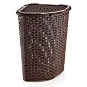 Superio Palm Luxe Corner Laundry Hamper with Lid - 23-in x 16-in - Brown