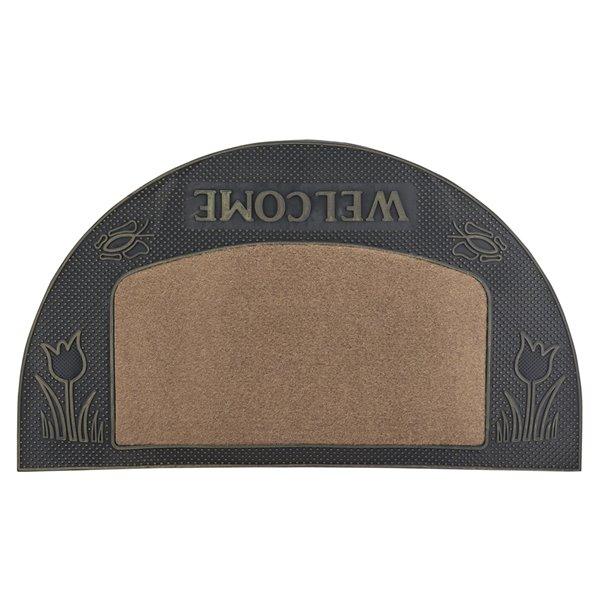 Superio Door Mat - Semicircle - 17-in x 29-in - Beige/Grey