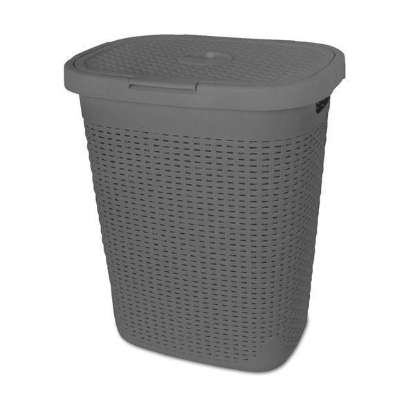 Superio Palm Luxe Laundry Hamper - 21-in x 17-in - Grey