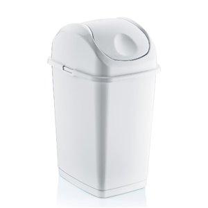 Poubelle à couvercle pivotant de Superio, 35 L, 17 po, blanc