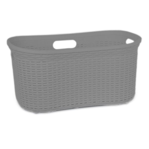 Superio Wicker Curved Laundry Basket - 22-in x 18-in - Grey