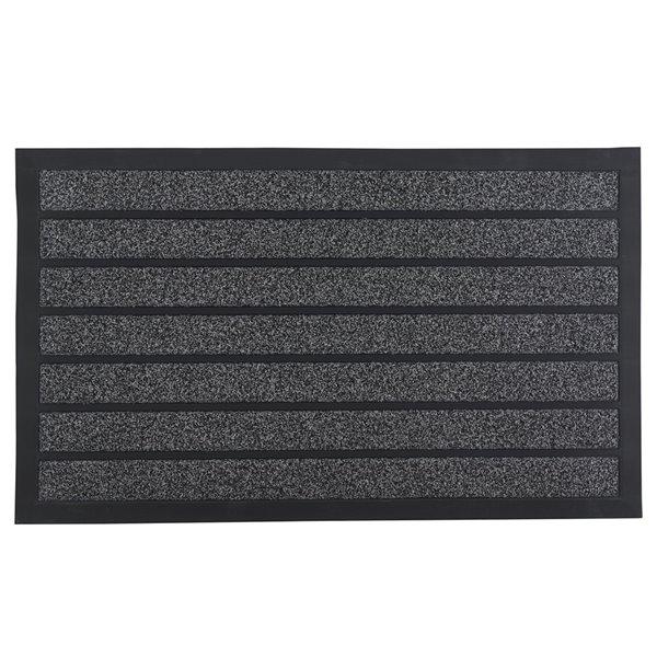 Superio Striped Door Mat - Rectangular - 17-in x 29-in - Grey