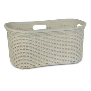 Superio Wicker Curved Laundry Basket - 22-in x 18-in - Off-white