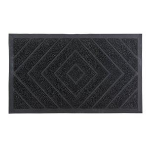Paillasson rectangulaire de Superio, motif de diamants, 17 po x 29 po, noir