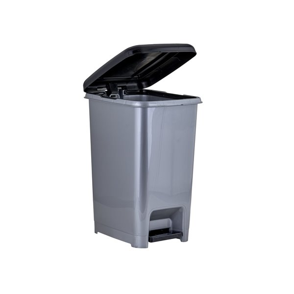 Superio Trash Can - Step Lid - 13-in - 10-L - Grey