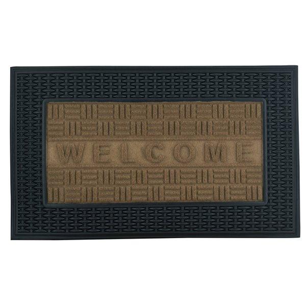 Superio Door Mat - Rectangular - 17-in x 29-in - Beige/Black