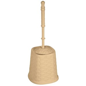 Superio Toilet Brush with Brush Holder - Wicker Style - Beige