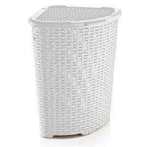 Superio Palm Luxe Corner Laundry Hamper with Lid - 23-in x 16-in - White