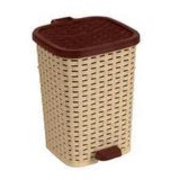 Superio Trash Can - Step Lid - 13.5-in - 12-L - Brown/Beige