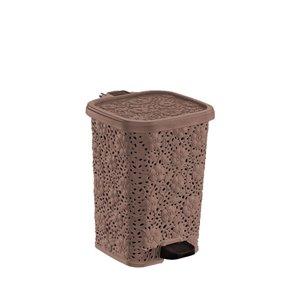 Poubelle à pédale de Superio, 6 L, brun