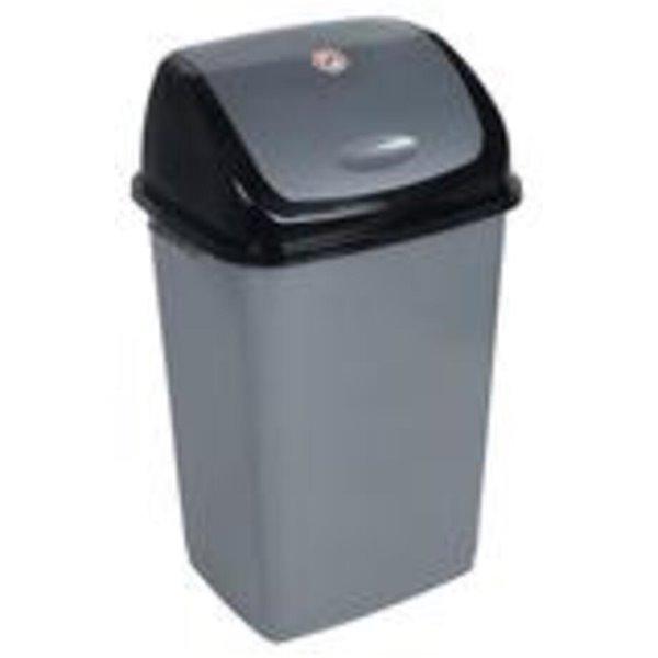 Superio Trash Can - Swing/Push Lid - 21.5-in - 50-L - Grey/Black