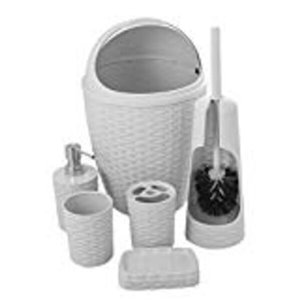 Superio Palm Luxe Style Bathroom Set - 6-Piece - White