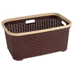 Superio Wicker Laundry Basket - 24-in x 16-in - Brown
