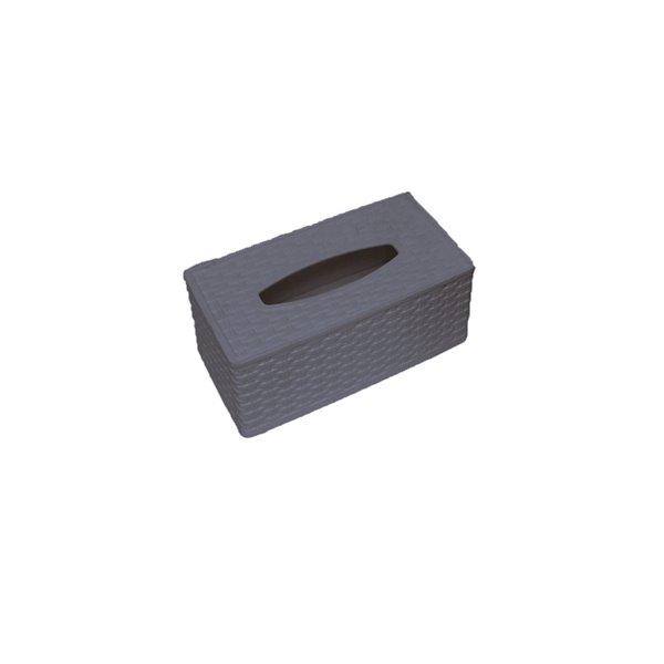Superio Wicker Style Tissue Box Holder - Grey