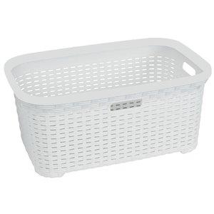 Superio Wicker Laundry Basket - 24-in x 16-in - White