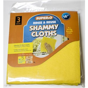 Superio Shammy Cloth - 16-in - Yellow - Pack of 3