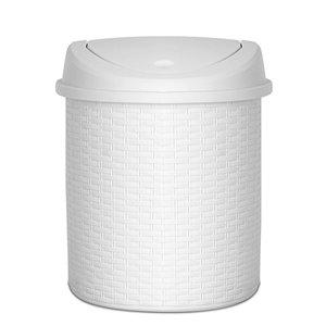 Poubelle à couvercle pivotant de Superio, 22 L, 15 po, blanc