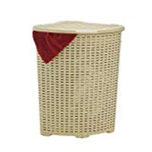 Superio Palm Luxe Corner Laundry Hamper with Lid - 23-in x 16-in - Brown/Tan
