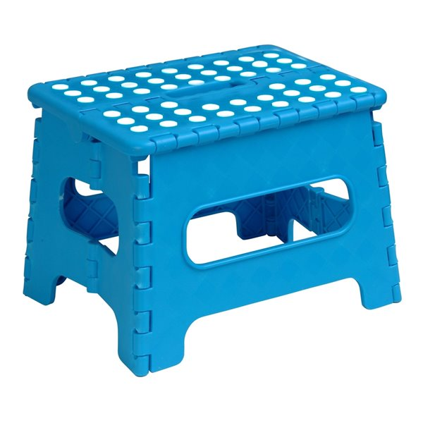 Superio Folding Step Stool - 9-in - Blue