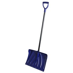 Superio Heavy Duty Snow Shovel with Metal Strip - 18-in x 51-in - Blue