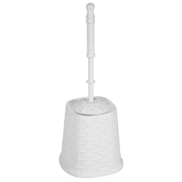 Superio Toilet Brush with Brush Holder - Wicker Style - White