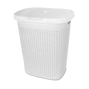 Superio Palm Luxe Laundry Hamper - 21-in x 17-in - White