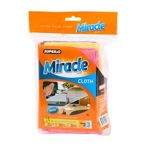 Superio Ultra Microfiber Miracle Cloth - 12-in - Pack of 3