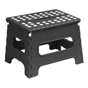 Superio Folding Step Stool - 9-in - Black