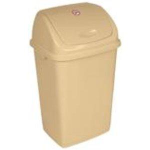 Poubelle à couvercle pivotant de Superio, 50 L, 21,5 po, beige