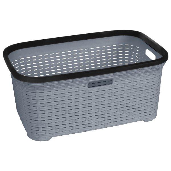 Superio Wicker Laundry Basket - 24-in x 16-in - Grey