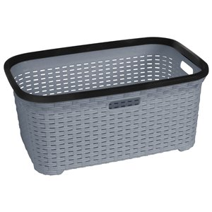 Superio Wicker Laundry Basket - 24-in x 16-in - Grey