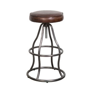 LH Imports Bowie Bar Stool -  26-in - Brown Leather