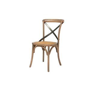 LH Imports Bistro Cross Back Chair - 19.75-in - Natural Wood - Set of 2