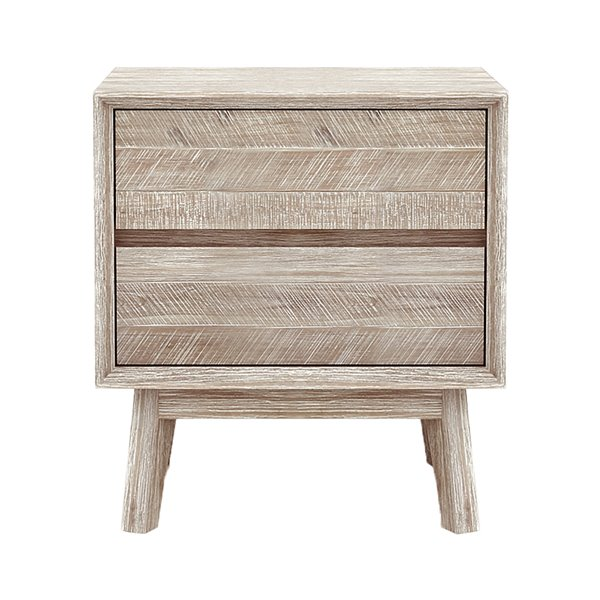 LH Imports Gia Nightstand - 2-Drawer - 21.5-in - Light Grey