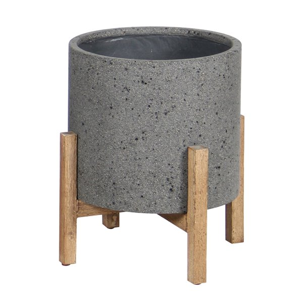 LH Imports Patio Round Standing Pot - 19.1-in - Grey