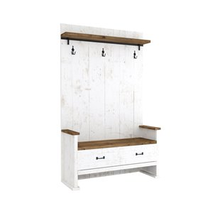 LH Imports Provence Hall Bench with 2 Drawers - 40.5-in x 74-in - Antique White