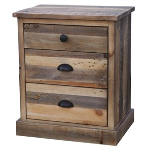 LH Imports Campestre Country Nightstand - 3-Drawer - 20-in - Natural Rustic Wood