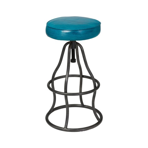 LH Imports Bowie Bar Stool -  26-in - Blue Leather