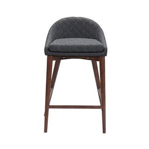 LH Imports Mila Counter Stool - 24-in - Dark Grey - Set of 2