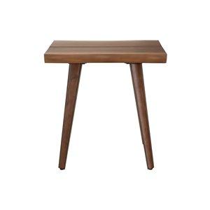 LH Imports Blaze Side Table - 19.7-in - Walnut Tan
