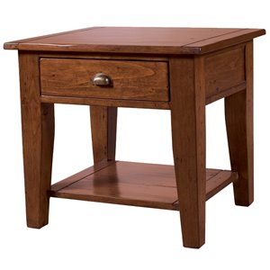 LH Imports PGT Irish Small Side Table with 1 Drawer - Brown Red