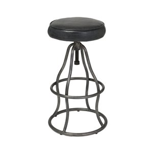 LH Imports Bowie Bar Stool -  26-in - Black Leather