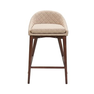 LH Imports Mila Counter Stool - 24-in - Beige - Set of 2