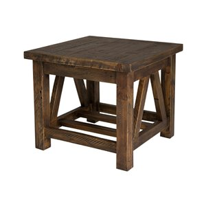 LH Imports Alfresco Side Table - 23-in - Smokey Brown