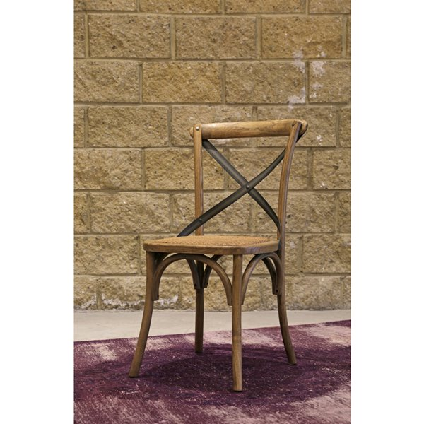 LH Imports Bistro Cross Back Chair - 19.75-in - Natural Rustic Wood - Set of 2